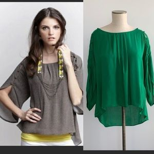 Anthropologie Maeve Kelly Green Braxton Blouse